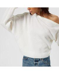 T By Alexander Wang - Women's Snap Detail Off The Shoulder Crop Sweater - Lyst