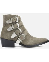 Toga Pulla - Buckle Side Suede Heeled Ankle Boots - Lyst
