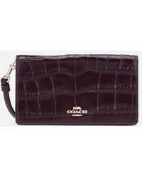 COACH - Women's Embossed Croc Slim Phone Case - Lyst