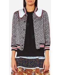 COACH   Women's Printed Intarsia Collar Varsity Jacket   Lyst