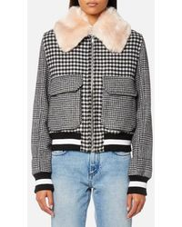 MSGM - Women's Check Bomber Jacket With Fur Collar - Lyst