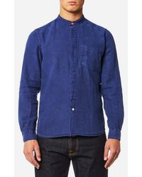 PS by Paul Smith - Men's Grandad Collar Tailored Fit Long Sleeve Shirt - Lyst