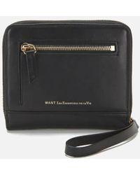 Want Les Essentiels De La Vie - Women's Portela Zip Wallet Jet - Lyst