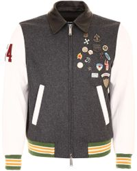 DSquared² - Men's Wool Leather And Denim Jacket With Pins - Lyst