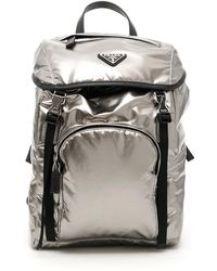 Prada - Metallic Nylon Backpack - Lyst
