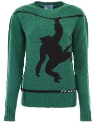 Prada - Pull With Monkey Intarsia - Lyst
