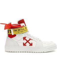 Off-White c/o Virgil Abloh - White And Red Industrial High-top Sneakers - Lyst