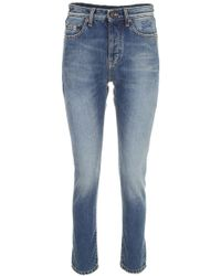 Saint Laurent - Jeans With Embroidered Logo - Lyst