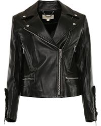 MICHAEL Michael Kors - Leather Biker Jacket - Lyst