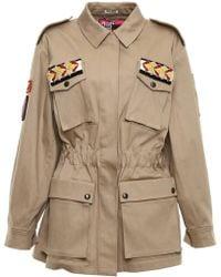 Miu Miu - Stretch Denim Jacket With Patches - Lyst