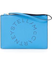 Stella McCartney - Logo Flap Zip Clutch - Lyst