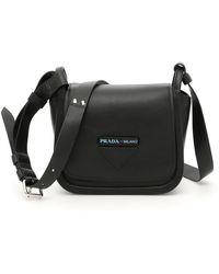 f3ee63f9f716 Lyst - Prada Leather Shoulder Bag in Black