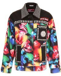 Miu Miu - Stretch New Denim Jacket Flower - Lyst