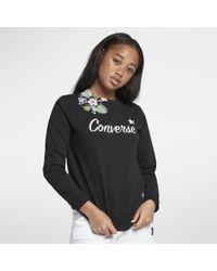 Converse - Essentials Lightweight Palm Print Star Crew Women's Sweatshirt - Lyst