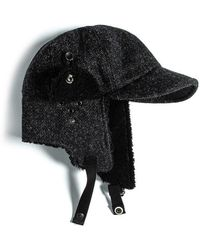 a32799bd87d Eastlogue Bomber Hat- Black & Charcoal Herringbone