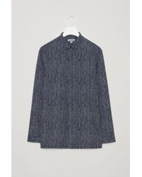 COS - Printed Shirt With Narrow Collar - Lyst