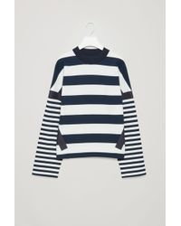 COS - Knitted-neck Striped Sweatshirt - Lyst