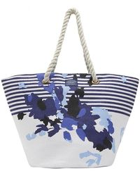 Joules - Tasseled Floral Striped Summer Tote - Lyst