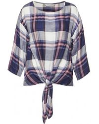 Great Plains - Charlotte Check Knot Detail Top Blouse - Lyst