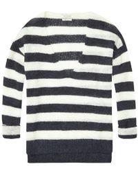 Maison Scotch - Deep V Neck Striped Womens Knit - Lyst