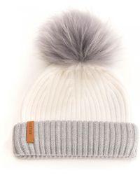 2ed6f64486e BKLYN - Merinos White Grey Fold Racoon Pom Womens Hat - Lyst