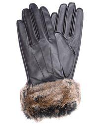 Barbour Fur Trimmed Leather Gloves - Brown