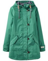 Joules Coastmid Womens Mid Length Waterproof Jacket S/s - Green