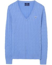 GANT - Stretch Cotton Cable V-neck Ladies Jumper - Lyst