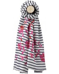 Joules - Flora Womens Embroidered Cotton Scarf S/s - Lyst