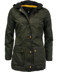 Joules - Daubenay Faux Wax Womens Jacket With Hood (z) - Lyst