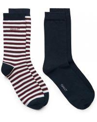 GANT - 2-pk Solid And Barstripe Womens Socks - Lyst