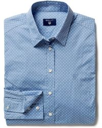 GANT - Broadcloth Stretch Dot Ladies Shirt - Lyst