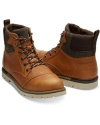 2b95f759007 TOMS - Ashland Waterproof Dark Toffee Leather Brushed Wool Mens Boot - Lyst