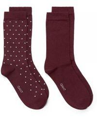 GANT - 2-pk Solid And Dot Womens Socks - Lyst