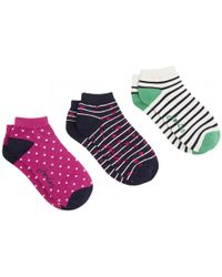 Joules - Brilliant Bamboo Shortie Womens 3pk Invisible Socks S/s - Lyst