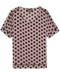 Maison Scotch - Silky Feel Printed Ladder Tape Detail Womens Blouse - Lyst