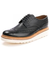Grenson - Archie Brogue Black Mens Shoe - Lyst