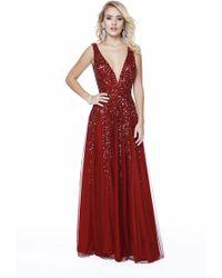 f6108131b53 Lyst - Shail K 12207 Sequin Embellished V Neck A Line Gown in Pink