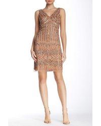 Adrianna Papell - 41899240 Geometric Beaded V-neck Sheath Dress - Lyst