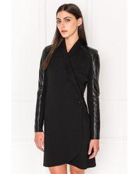Lamarque - Mila Leather Trimmed Knit Wrap Dress - Lyst