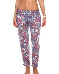 Luli Fama - Smocked Gipsy Pant In Multicolor (l) - Lyst