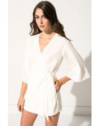 Lamarque - Jamari Cream Kimono Silk Jumpsuit | Jamari Combinaison Ivoire En Soie - Lyst