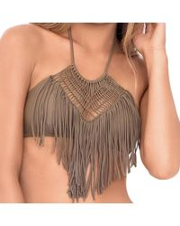 Luli Fama - Heart Of A Hippie Weave Fringed Halter In Sandy Toes (l) - Lyst
