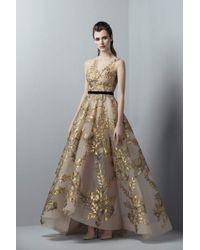 Saiid Kobeisy - 3359 Gold Appliqued Sheer Gown - Lyst