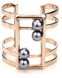 Ben-Amun - Golden Cuff With Black Pearls - Lyst