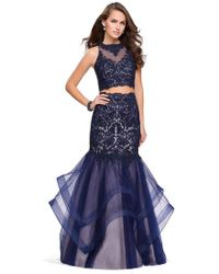 7e15bad034bd La Femme - Gigi - 26071 Sheer High Halter Two-piece Mermaid Gown - Lyst