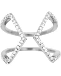 Rachael Ryen - Open Cross Pave Ring - Silver - Lyst