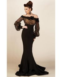 Mnm Couture - S0006l Bell Sleeve Ribbon Detailed Mermaid Gown - Lyst