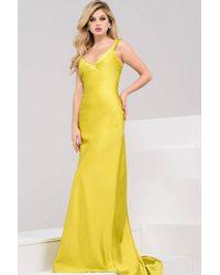 Jovani - Simple V-neck Satin Sheath Dress Jvn - Lyst