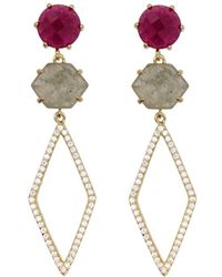 Rachael Ryen - Pronged Pave Drops - Rubellite Jade (as Seen In O Magazine) - Lyst